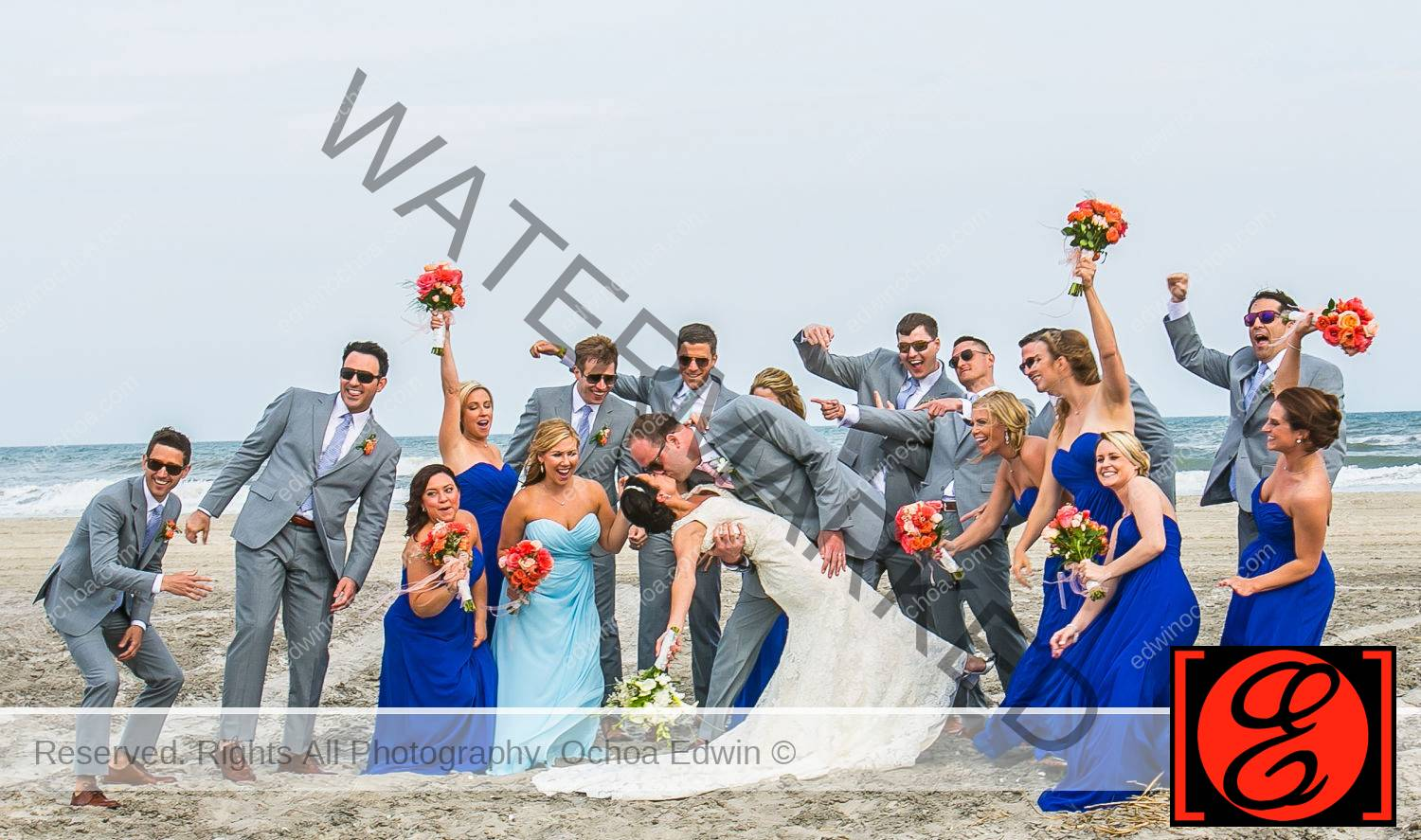Susan and Matthew with bridal party avalon beach Wedding