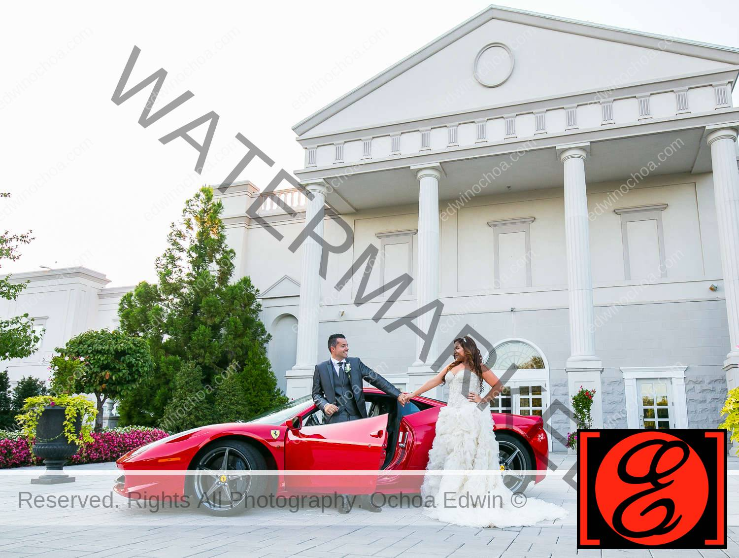 bride and groom posing infront the palace at somerset park wedding with red ferrari 458