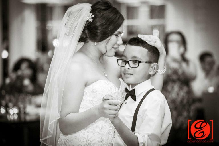 bride dancing with son
